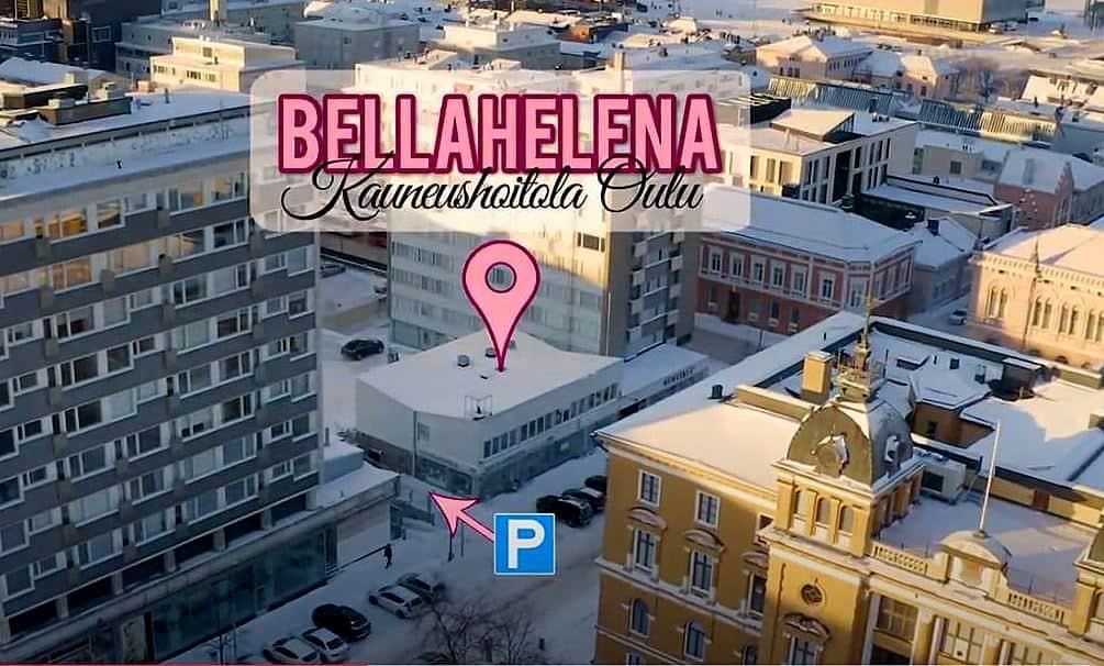 Kauneushoitola BellaHelena Sijainti Oulussa 2020 videokuva ilmasta